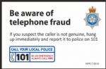 NYP17-0018 - Sticker: Be aware of telephone fraud